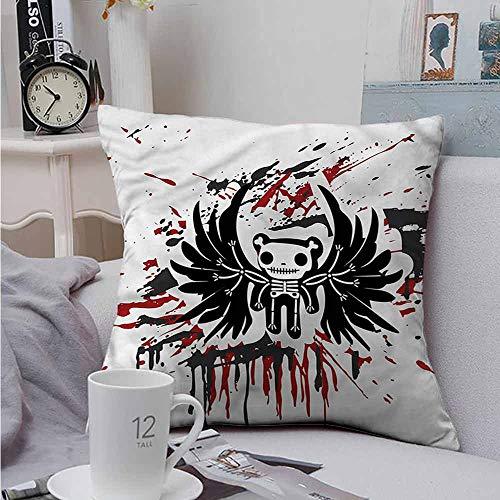 Fbdace Square Pillow Case Cover Halloween Comic Dead Skull Face Velvet Soft Soild Decorative 24 X 24 Inch -