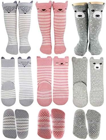 Baby Girl Knee High Socks 8-24 Months (Mustard, Grey, Blue)