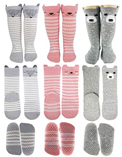 Tiny Captain Baby Girl Knee High Long Socks Non Slip Toddler 12-36 Months Anti Slip Non Skid Leg Warmer Baby Socks, Best Gifts for 1-3 Year Old Girl (Pink, Small)