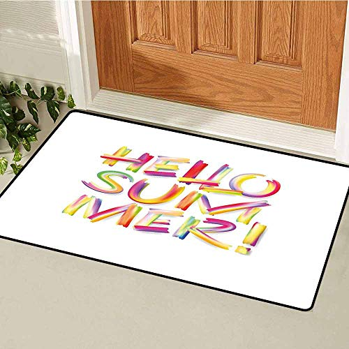 GloriaJohnson Hello Summer Commercial Grade Entrance mat Typographic Abstract Illustration of Modernized Fonts in Vivid Rainbow Colors for entrances garages patios W15.7 x L23.6 Inch Multicolor