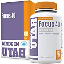 Brain Booster Focus 40 Brain Formula is a Powerful Nootropic and Brain Supplement That Supports Mental Alertness, Memory, Focus, and Concentration - Made in Our Lab in Utah, 60 capsules