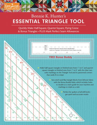 fast2cut Bonnie K. Hunter's Essential Triangle Tool: Quickly Make Half-Square, Quarter-Square, Flying Geese & Bonus Triangles - Plus Mark Perfect Seam ... - FREE Bonus Buddy Ruler (Fast2cut Templates)
