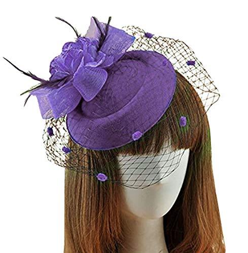 Fascinator Hats Pillbox Hat British Bowler Hat Feather Flower Veil Wedding Hat (Purple ) ()