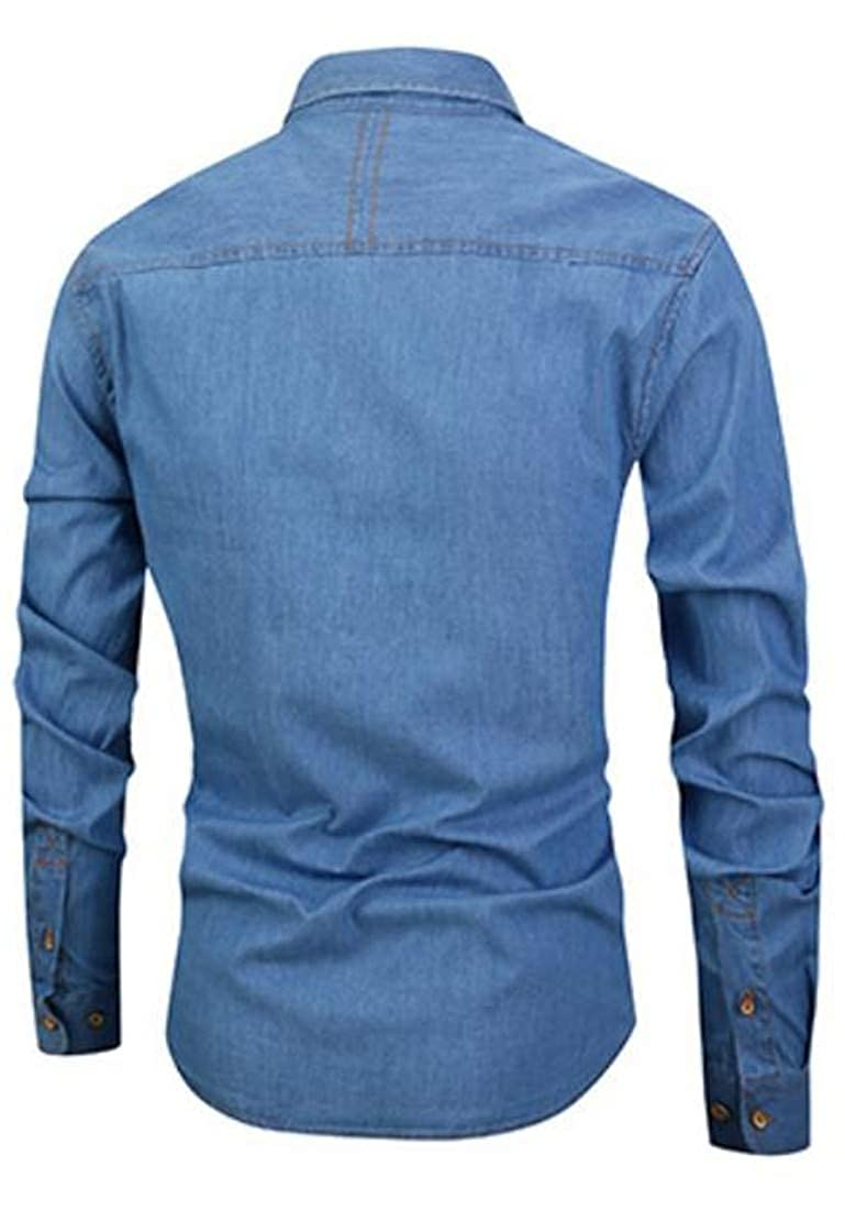 Macondoo Mens Easy Care Casual Long Sleeve Button Front Washed Denim Shirt
