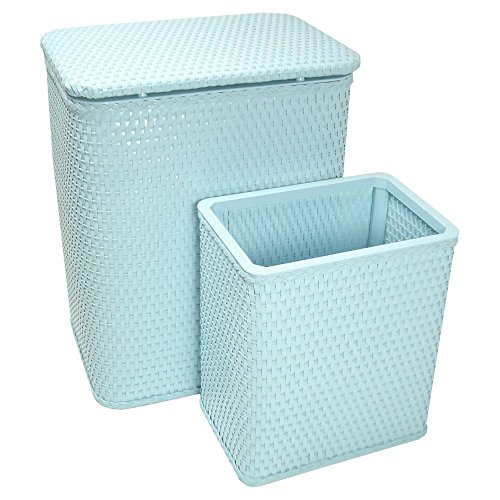 (RedmonUSA Redmon for Kids Chelsea Wicker Nursery Hamper and Matching Wastebasket, Sky)