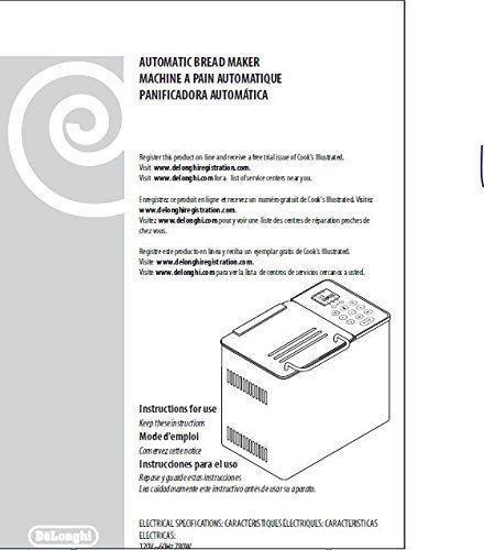 Delonghi Bread Machine Maker Instruction Manual (Model ...