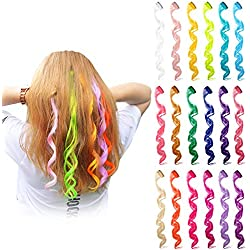 Blulu 24 Pieces 24 Colors Multi-Colors Curly Wave Clip on in Hair Extensions Hair Pieces Colored Party Highlights DIY Hair Accessories Extensions 20 Inches Long Hair for Girls Women