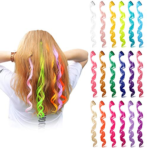 Blulu 24 Pieces 24 Colors Multi-Colors Curly Wave Clip on in Hair Extensions Hair Pieces Colored Party Highlights DIY Hair Accessories Extensions 20 Inches Long Hair for Girls Women ()