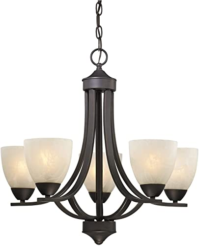 5-Light Chandelier with Alabaster Glass in Bronze Finish
