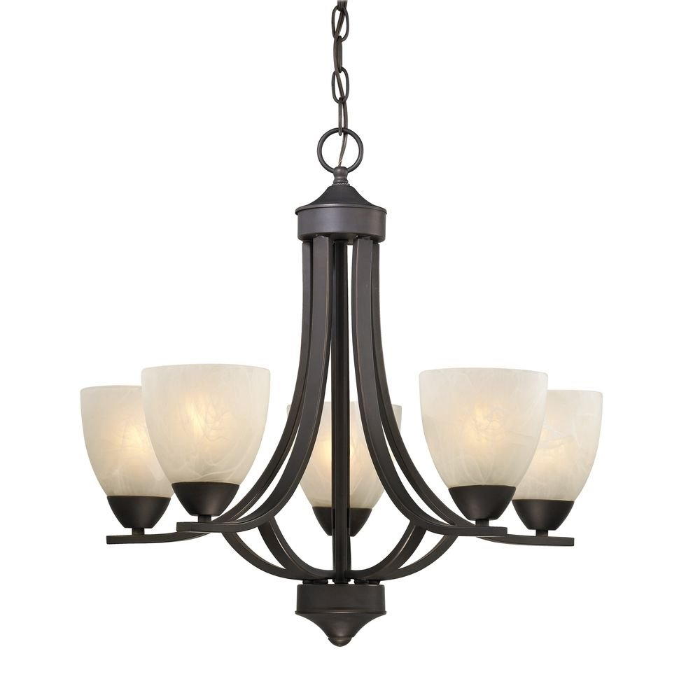 5-Light Chandelier with Alabaster Glass in Bronze