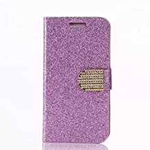 Case For Samsung Note 4, CoverProof® Glitter Plating Card Wallet Phone Shell Stand Fashion Phone Case Flip Phone Cover For Womne-Purple