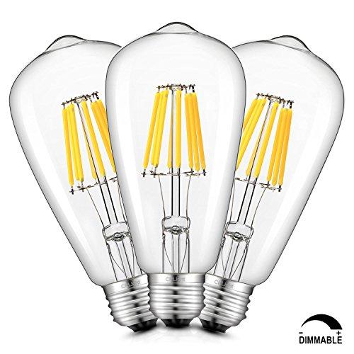 - CRLight LED Edison Bulb 8W 4000K Daylight (Neutral White) 800LM Dimmable, 80W Equivalent E26 Medium Base, ST21(ST64) Vintage LED Filament Bulbs, 360 Degree Beam Angle, Pack of 3