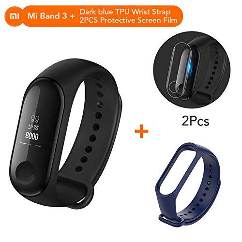 Mi Banda 3Almacenamiento Xiaomi MiBand–Rastreador de Fitness Monitor de frecuencia Cardíaca Pantalla OLED de 2cm Touchpad Bluetooth 4.2para Android iOS mi band 3