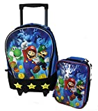 New Super Mario Brother Rolling Backpack w Lunch Case