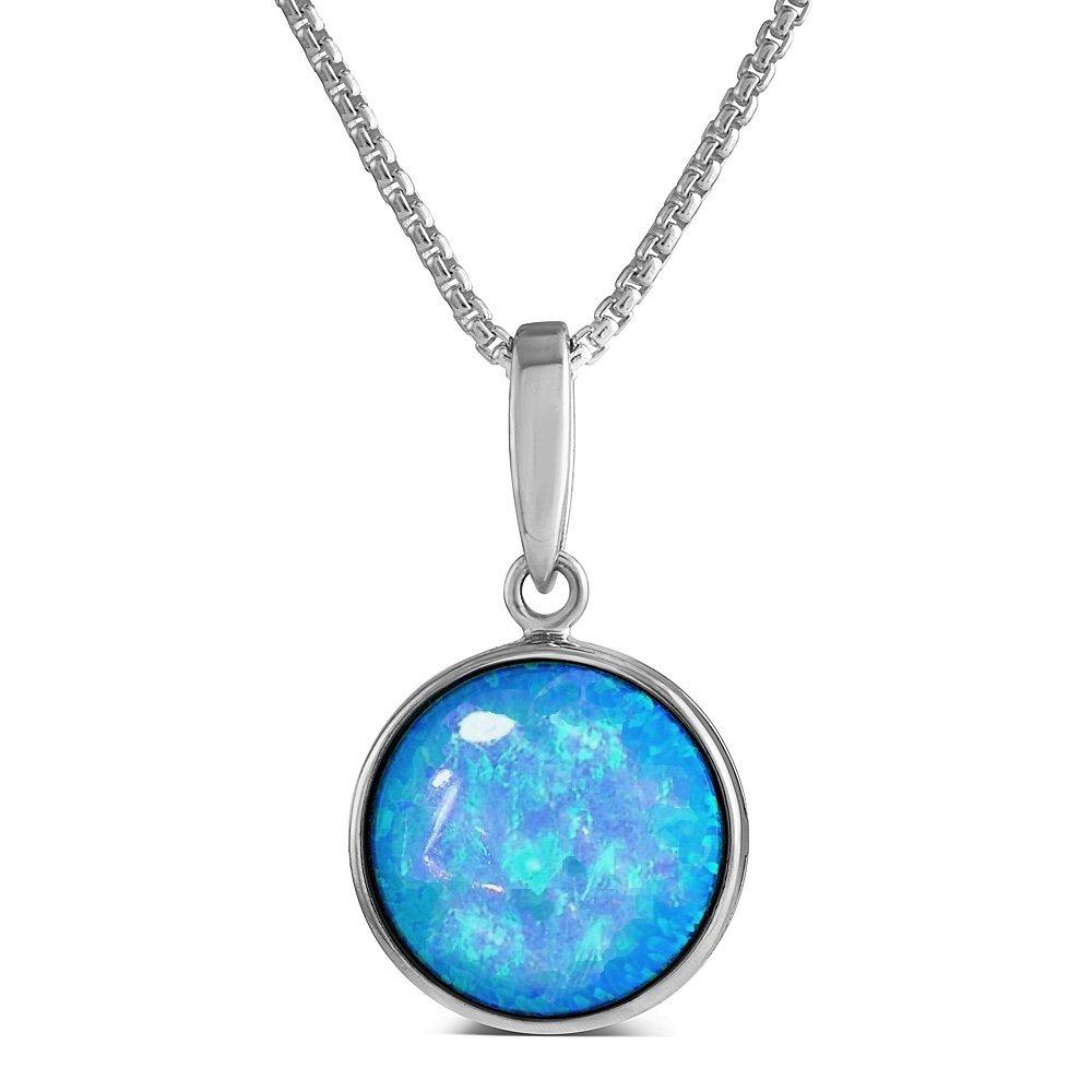 Leuchtender Erstellt Blauer Opal Anhänger aus Sterling Silber, 12 mm rund, herrliche Qualität in einer Geschenkbox. Paul Wright Jewellery AEP021OPb