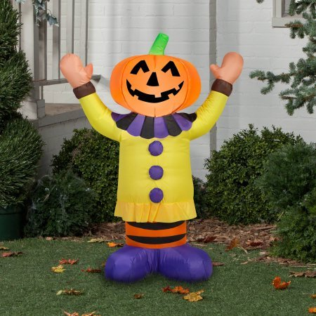 Gemmy Airblown Inflatable 3.5' X 2.5' Pumpkin Clown Halloween Decoration ()