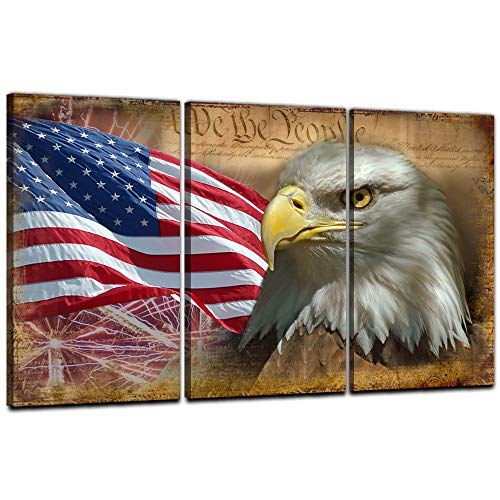 EAVUTY Bald Eagle Wall Art American Flag Wall Decor 3 Panels USA Flag Posters Morden Artwork Painting Prints Poster Rustic American US Flag Wall Art Canvas Woodne Framed Stretched Hang (24