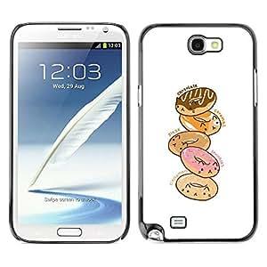 PC/Aluminum Funda Carcasa protectora para Samsung Note 2 N7100 doughnut white pink cartoon drawing / JUSTGO PHONE PROTECTOR
