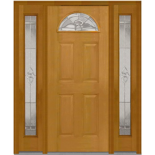National Door Company Z014645R Fiberglass Mahogany, Fruitwood, Right Hand In-swing, Exterior Prehung Door, Master Nouveau, Fan Lite 4-Panel, 36''x80'' with 14'' Sidelites by National Door Company
