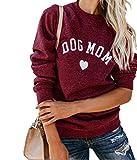 Heymiss Womens Tops Dog Mom Shirt Long Sleeve O Neck Letter Print Sweatshirts Red M