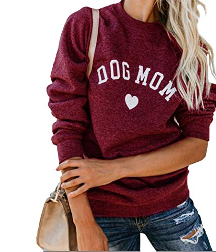 Heymiss Womens Tops Dog Mom Shirt Long Sleeve O Neck Letter Print Sweatshirts Red L