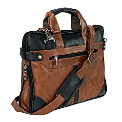 Storite PU Leather 14 inch Laptop Shoulder Messenger Sling Office Bag for Men & Women – (40 x 29 x 6 cm, Black/Brown)