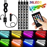 Car Led Strip Light Interior Car Lights 36 LED Multicolor RGB Music Atmosphere Neon Under Dash Lighting Kit Under Car LED Strip Lights Multicolor RGB Music Atmosphere Neon Under Dash Lighting Kit with Sound Active and Wireless Remote Control Included Car Charger RGB LED Interior Light(12V,36LEDS)
