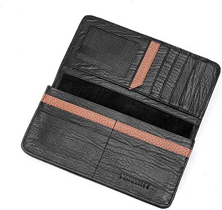 MONHINTY Men's Business Genuine Leather Slim Bifold Wallets