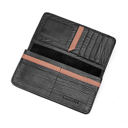 Italian Leather Coat Pocket Wallet - MONHINTY Men's Slim Business Genuine Leather Long Bifold Wallets With Multi Cards Holders Black