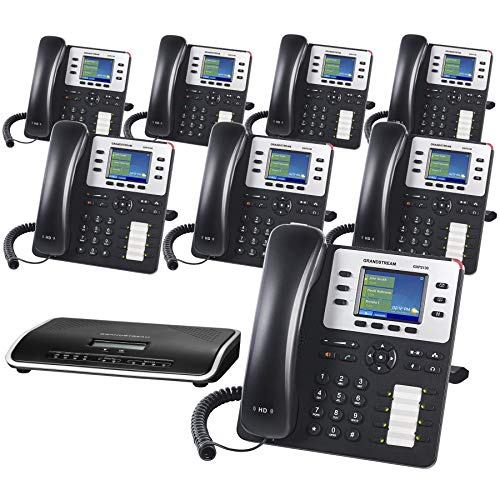 Business Phone System by Grandstream: Enhanced Package Including Auto Attendant, Voicemail, Cell & Remote Phone Extensions, Call Recording & Free Phone Service for 1 Year (8 Phone Bundle)
