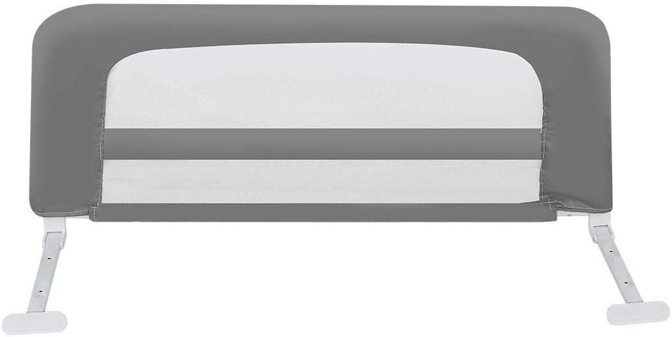 Barri/ère de S/écurit/é R/églable pour Lit denfant en Tissu Ecologique avec Plaque en Acier Renforc/é pour Lit Incorpor/é et Lit Plat Prot/ège-lit 1m pour Enfant beige