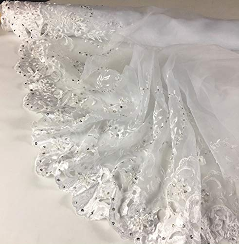 Bridal Beaded Embroidered Organza Fabric, Hand Cut Satin Boarder for Veil Craft and DIY Sewing, by the 2 Yard, with Pearl Beads & Silver Sequins Lace Fabric, White, 52