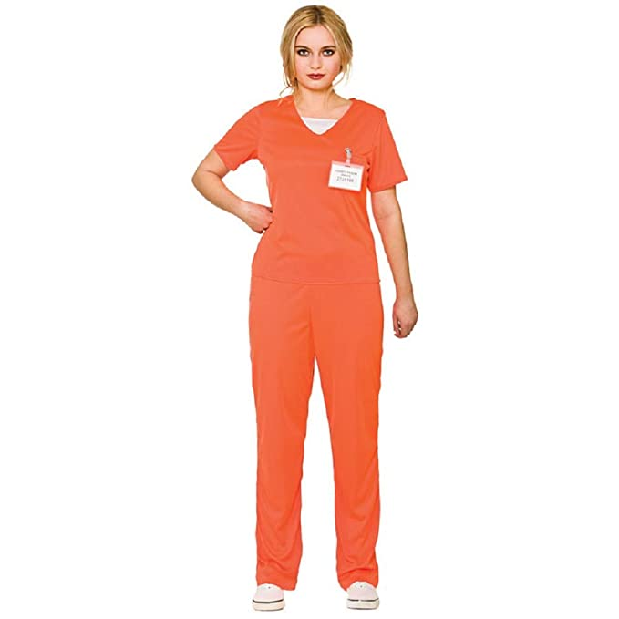 1be59a56 Image Unavailable. Image not available for. Color: Adult's Women's Orange  Convict Prisoner Shirt & Trousers Fancy Dress ...