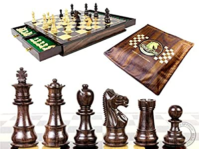 "House of Chess - Rosewood / Boxwood Chess Set Pieces Galaxy Staunton 3"" (76 mm) with 15"" x15"" Rosewood Board + 2 Extra Queens, 4 Extra Knights & 2 Extra Pawns"