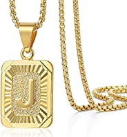 Trendsmax Initial Letter Pendant Necklace Mens Womens Capital Letter Yellow Gold Plated A Z Stainless Steel Bo