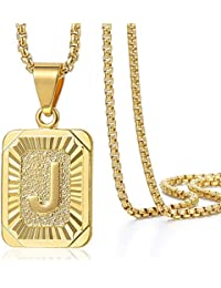 Initial Letter Pendant Necklace Mens Womens Capital Letter Yellow Gold Plated A Z Stainless Steel Box Chain 22inch