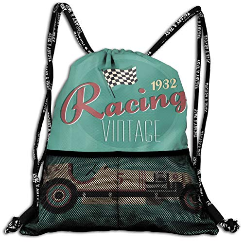 (Drawstring Backpacks Bags,Poster Print Of A Classic Vintage Automobile Nostalgia Rally Antique Machine,Adjustable)