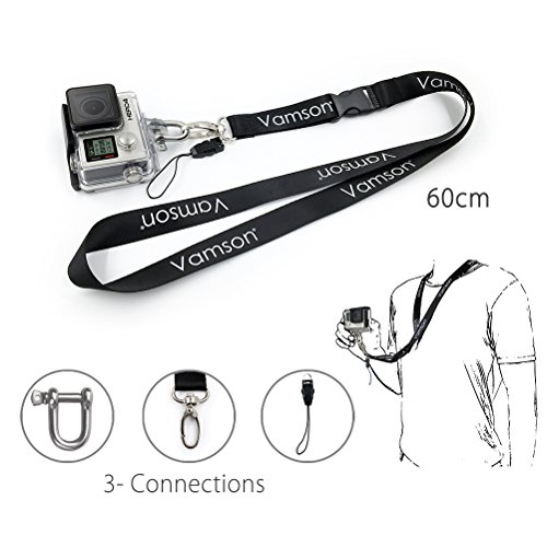 Vamson 60cm Detachable Long Neck Strap Lanyard Sling with Quick Release and Safety Tether for GoPro Hero 7/6/ 5/4 for DJI OSMO Action/Xiaomi yi 4k and The Other Sports Action Cameras VP210