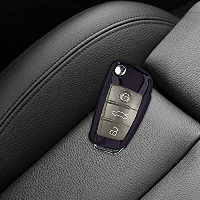 kwmobile Car Key Cover Compatible with Audi 3 Button Flip Key - Soft TPU Fob Cover for Car Keys - Black High Gloss: Automotive