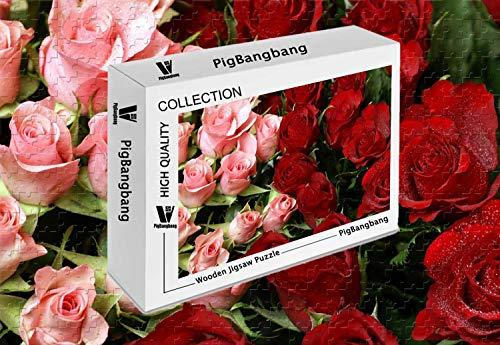(PigBangbang,Premium Basswood Mural - Pink Red Roses Bouquet - 500 Piece Jigsaw Puzzle (20.6 X 15.1 ''))