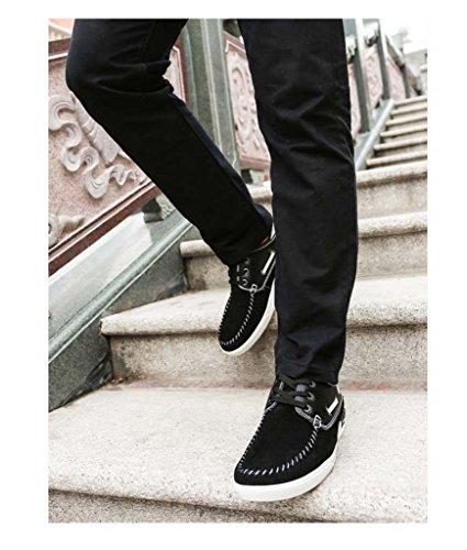 ZXCV Zapatos al aire libre La tabla ocasional calza los zapatos salvajes de los hombres salvajes de la manera del ante transpirable plano de los zapatos Negro