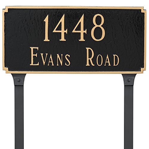 Montague Metal Madison Estate Two Line Address Sign Plaque with Lawn Stakes, 14