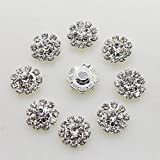 AngHui ShiPin 50pcs 12mm Round Rhinestone Buckle Buttons Slider for Sew On Silver Plated Alloy Rhinestone Button Flatback Crystal Button For Baby Hair Accessories Christmas Buttons