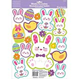 Egg-stra Special Easter Bunny Window Party Decorations, Vinyl, 17'' x 12'', Pack of 20