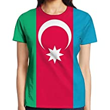 Azerbaijan Flag Women's Printed Pullover Casual Tees Short Sleeve T-Shirt For Youth Girls