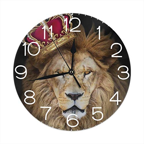 Round Wall Clock Desk Clock Cartoon Lion with Crown (2) Printed for Living Room/Dining Room/Bedroom/Study Room Decorative Silent Easy to Read Battery Operated 9.84 Inch