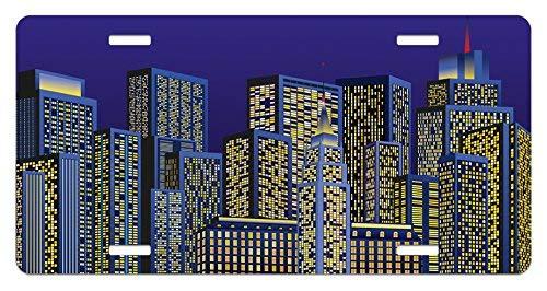 Digital Cartoon Design Cityscape with Square Seemed Image Kids Room Artwork Print Dark Blue and Yellow License Plate Frame Car Tag Border for Men Women Car Garadge Decor