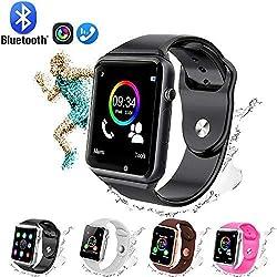GL Smart Watch,Bluetooth Smart Watch Touch Screen Sport Smart Wrist Watch, Fitness Tracker Camera Pedometer SIM TF Card Slot Compatible Samsung Android iPhone iOS Kids Women Me (Black)