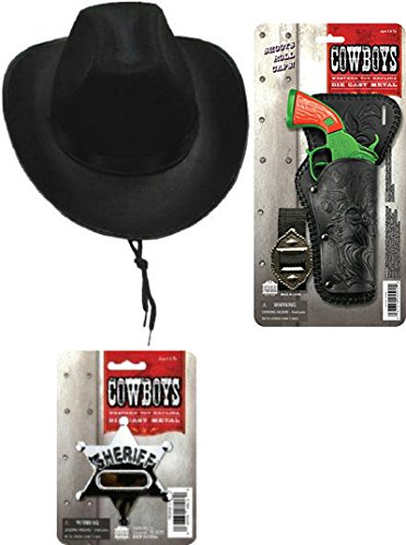 Space Cowboy Costumes (Cowboy Playset - Cowboy Hat, Western Toy Gun in Safety Colors, and Sheriff Badge)