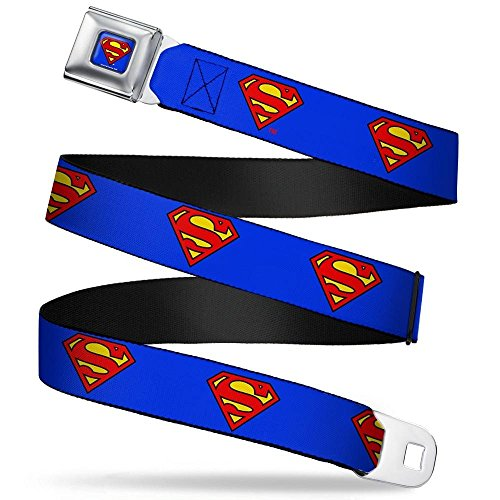 Superman Full Color Blue Seatbelt Belt - Superman Shield Blue Webbing REGULAR